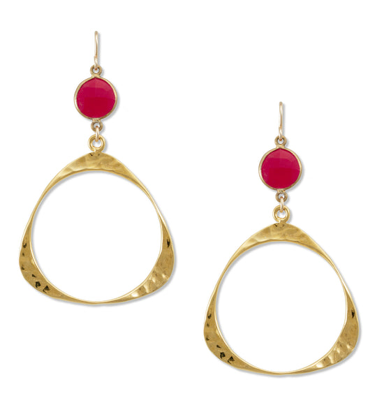 Ruby Bezel Hoop Earrings