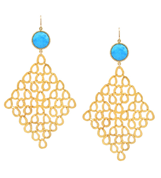 Turquoise Bezel Large Gold Trellis Earrings