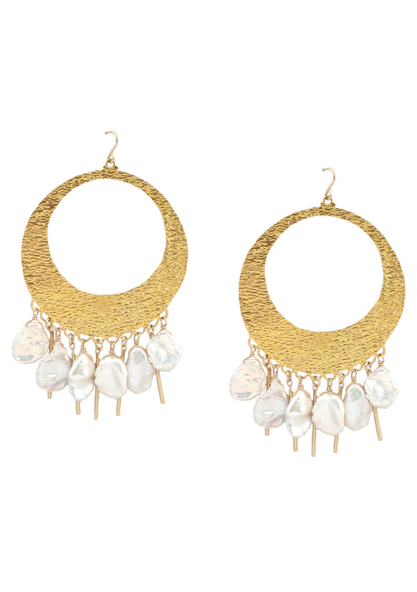 Gold Pearl Fringe Chandelier Earrings
