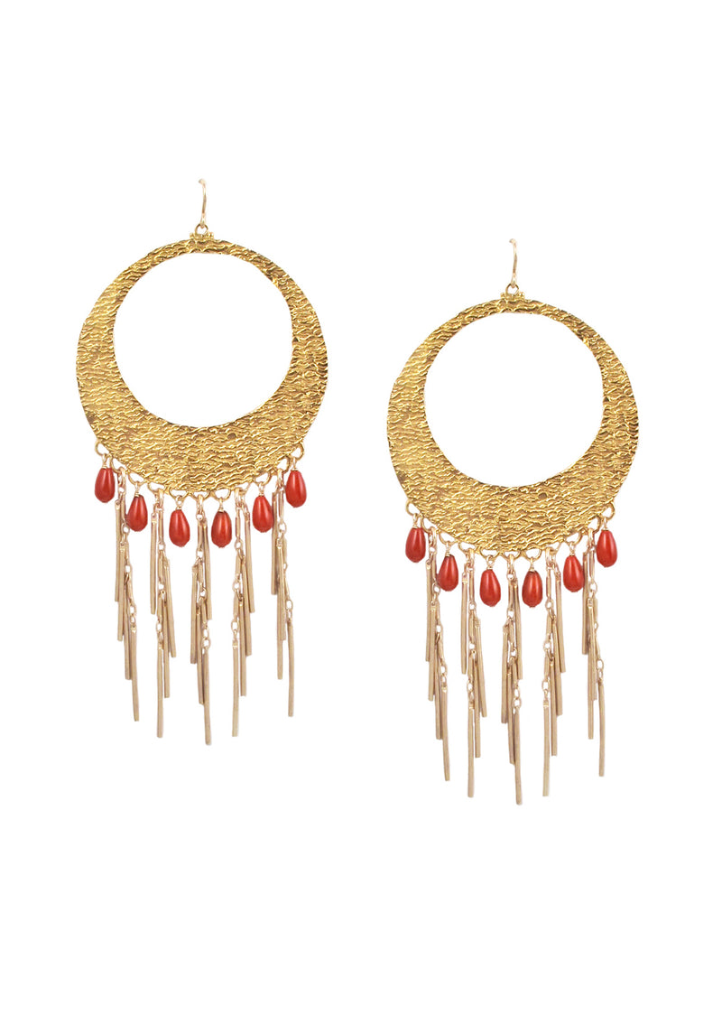 Coral Fringe Gold Chandelier Earrings
