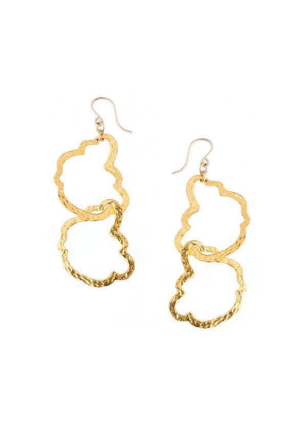 Hammered Irregular Double Hoop Earrings