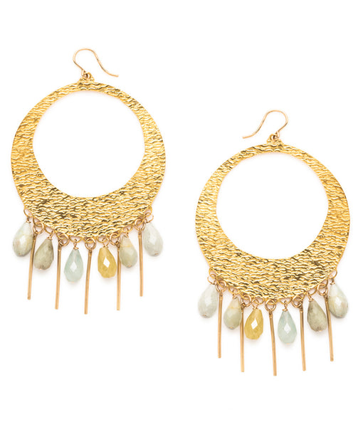 Aquamarine Fringe Gold Textured Hoop Earrings
