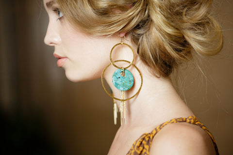 Gold Fringe Turquoise Textured Double Hoop Earrings