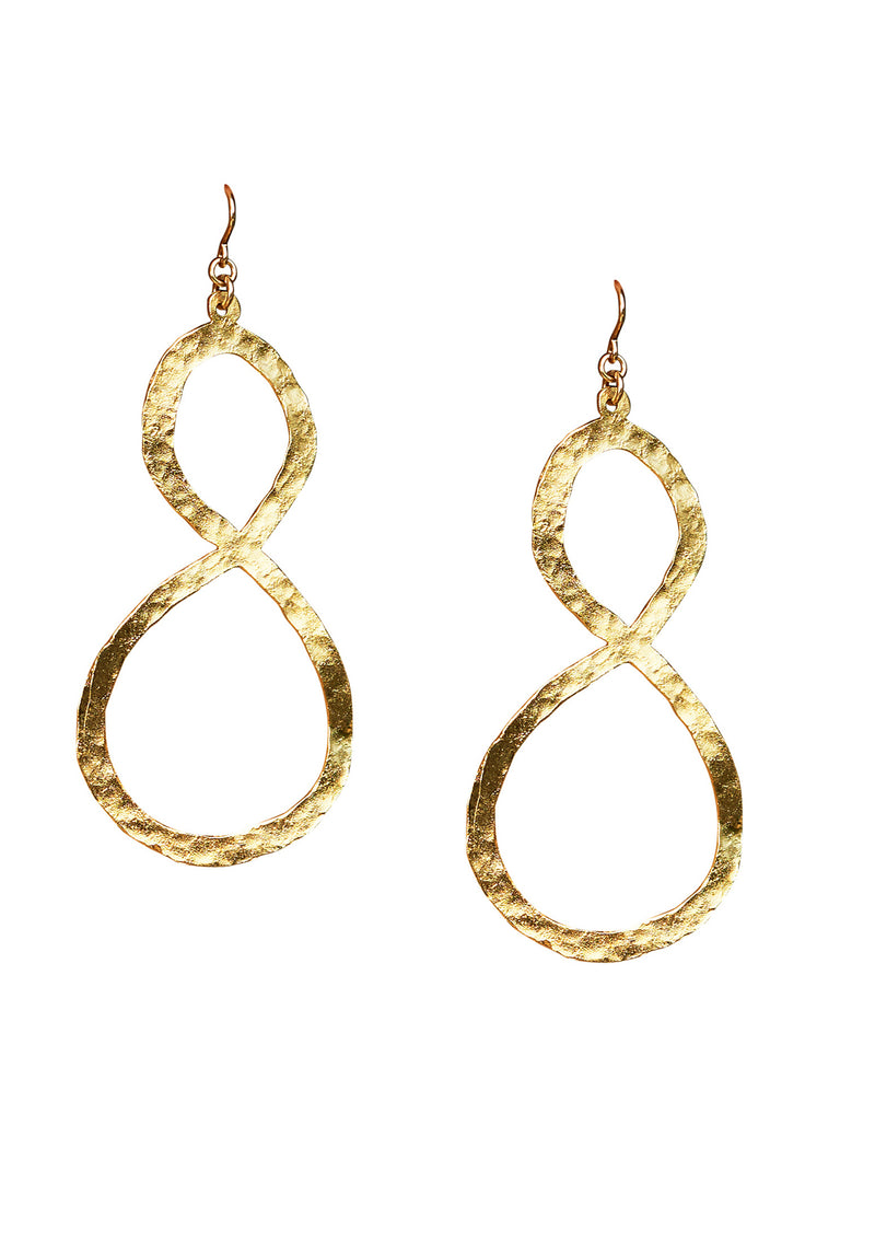 Hammered Gold Infinity Earrings