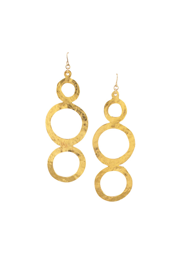 Hammered Gold Triple Circle Earrings
