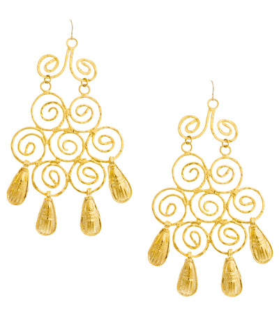 Large Swirl Trellis Chandelier Earrings