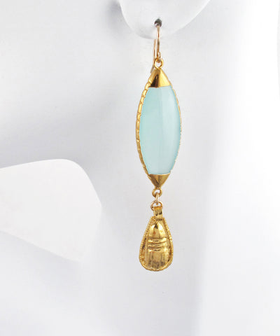 Aqua Chalcedony Gold Drop Earrings