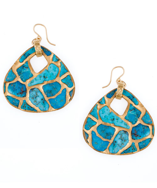 Copper Infused Turquoise Drop Earrings