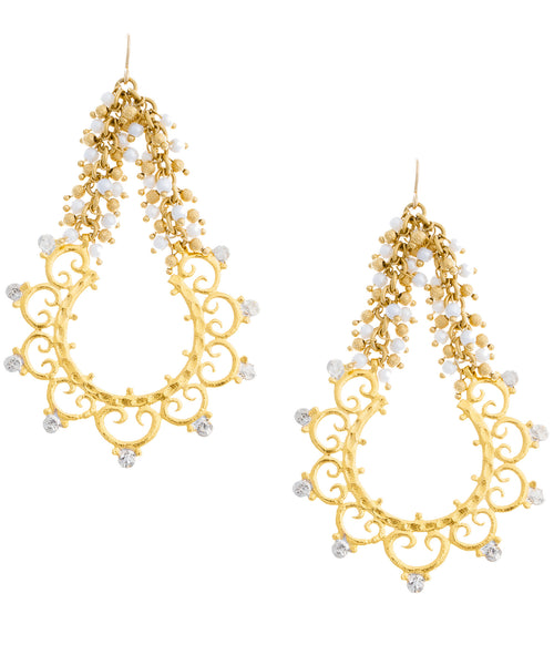 Two Tone Filigree Pearl Cluster Chandelier Earrings