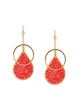 Red Teardrop Double Link Earrings