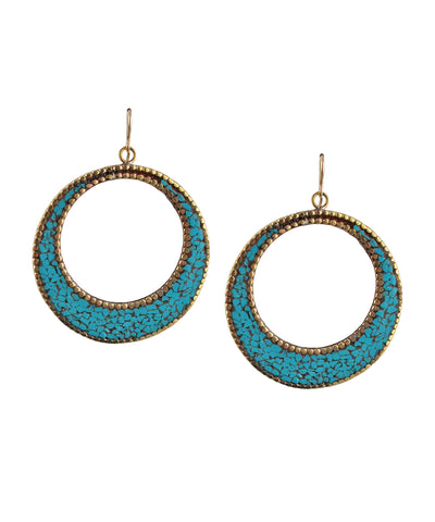 Turquoise and Brass Hoop Earrings