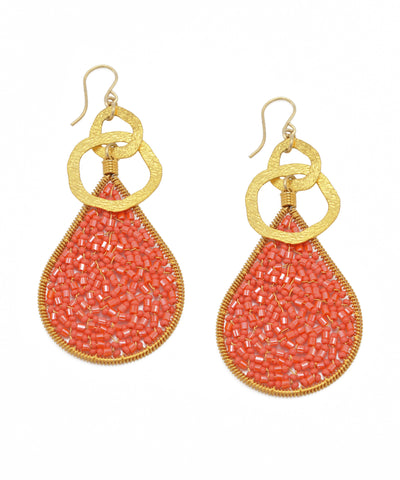 Textured Gold Coral Teardrop Earrings