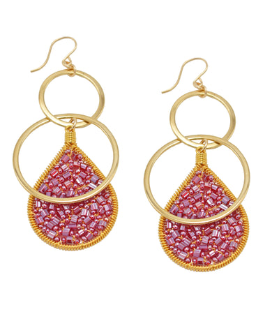 Small Mauve Teardrop Gold Double Hoop Earrings