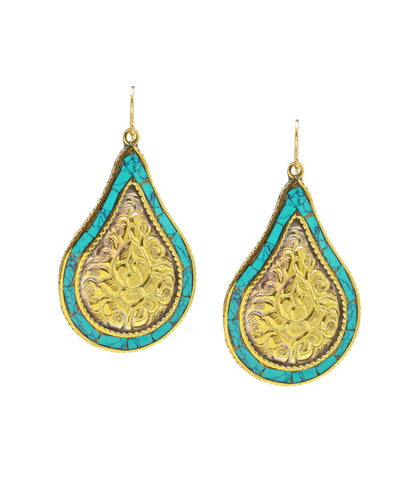 Turquoise and Carved Brass Teardrop Earrings