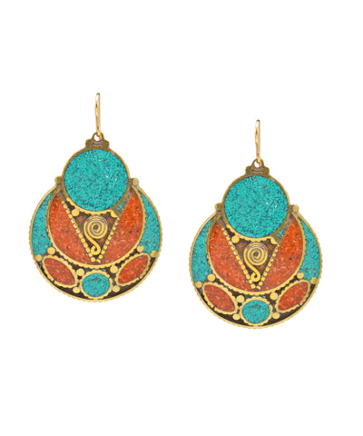 Turquoise and Coral Drop Earrings