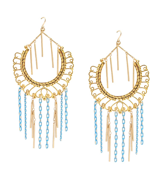 Gold and Turquoise Fringe Chandelier Earrings