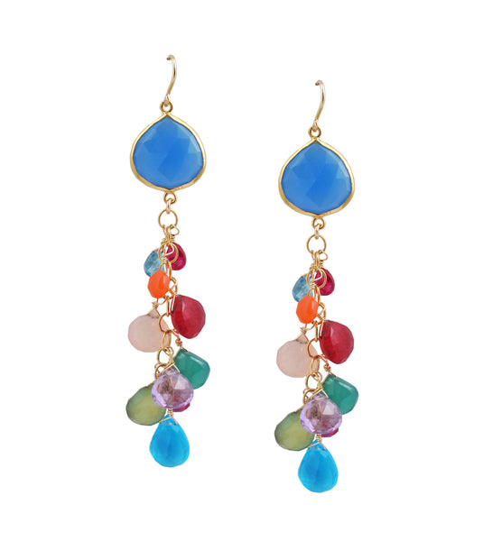Chalcedony Bezel Multicolor Cluster Earrings