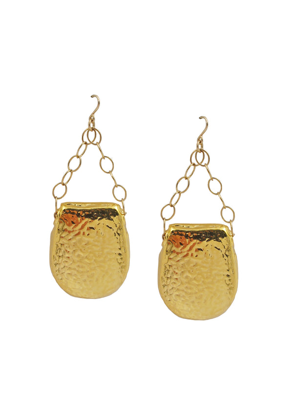 Hammered Hollow Gold Earrings