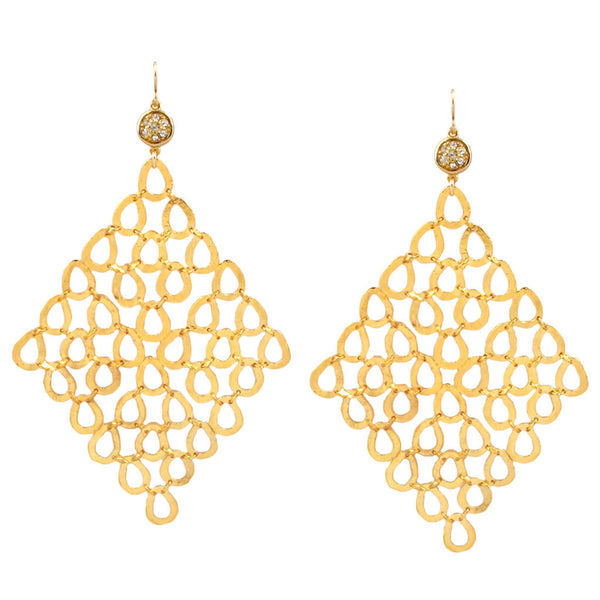 Diamond Illusion Gold Trellis Earrings