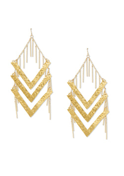 Hammered Statement Fringe Earrings