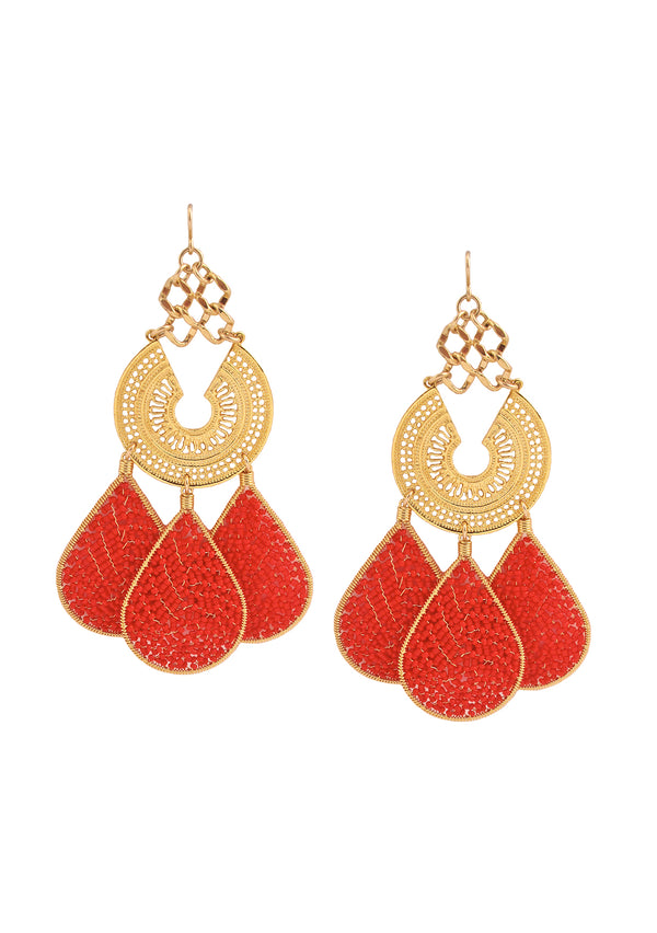 Red Teardrop Gold Chandelier Earrings