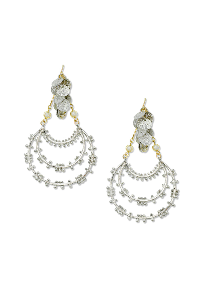 Rhodium Pendant Gypsy Coin Statement Earrings