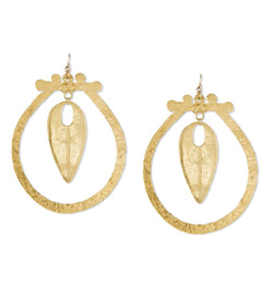 Gold Hammered Hoop Drop Statement Earrings
