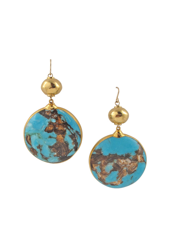Turquoise Bronzite Gold Accent Earrings