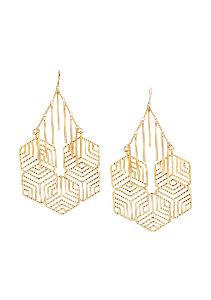 Gold Honeycomb Chandelier Earrings