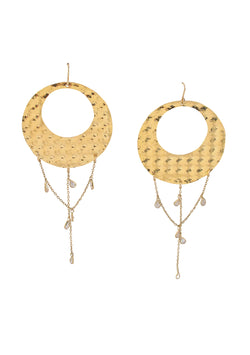 Textured Gold Clear CZ Chandelier Earrings