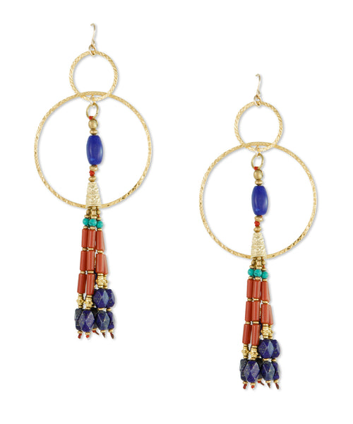Double Hoop Ethnic Tassel Earrings