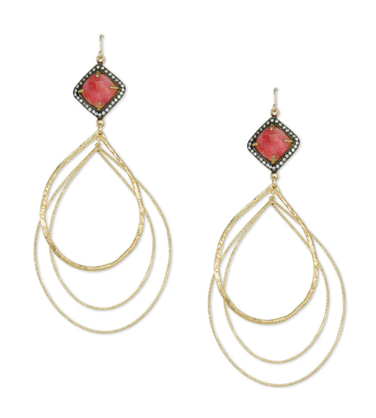 Multi Hoop Ruby Bezel Earrings