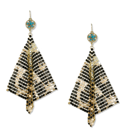 Black and Gold Mesh Earrings
