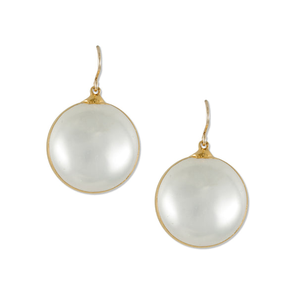 White Pearl and Gold Earrings