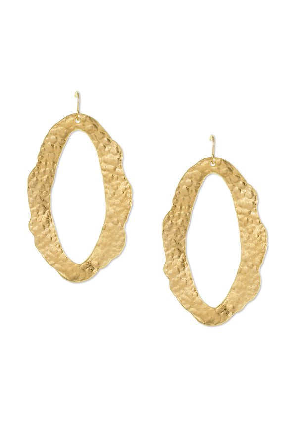Large Gold Hammered Earrings