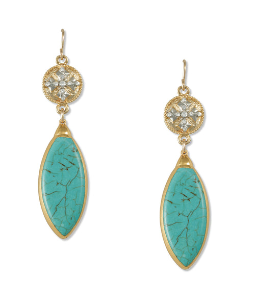 Turquoise Diamond Illusion Earrings