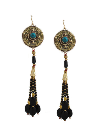 Turquoise and Black Onyx Tassel Earrings