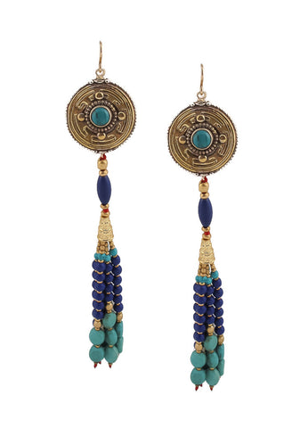 Lapis and Turquoise Tassel Earrings