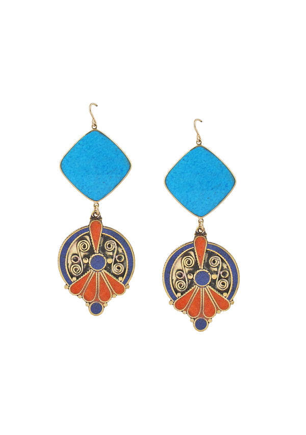Turquoise Bezel Ethnic Lapis Coral Earrings