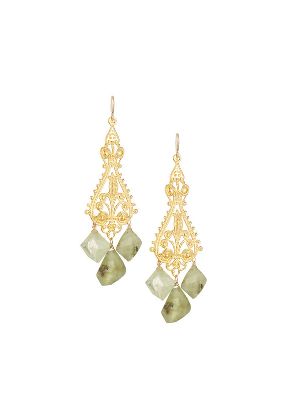 Green Garnet Gold Filigree Earrings
