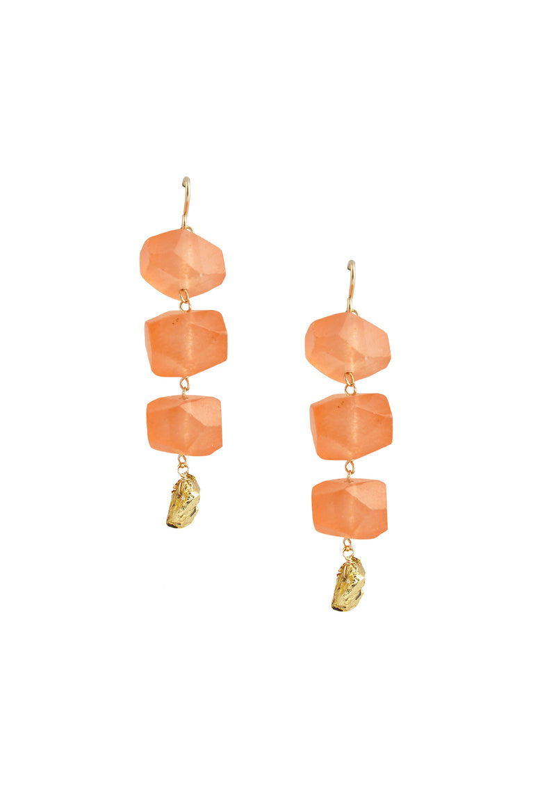 Carnelian Gold Pyrite Earrings