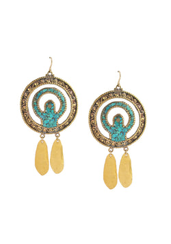 Ethnic Turquoise Disc Gold Drop Earrings