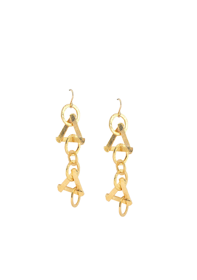 Textured Gold Triangle Dangle Earrings
