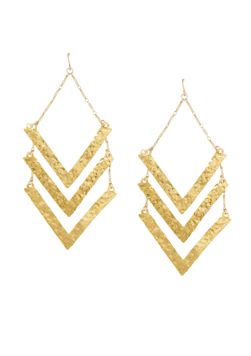 Hammered Gold Triple Wedge Earrings