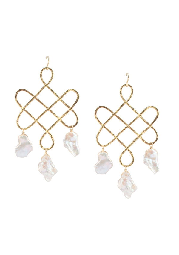 Freshwater Pearl Gold Trellis Earrings