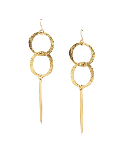 Gold Textured Dangle Earrings
