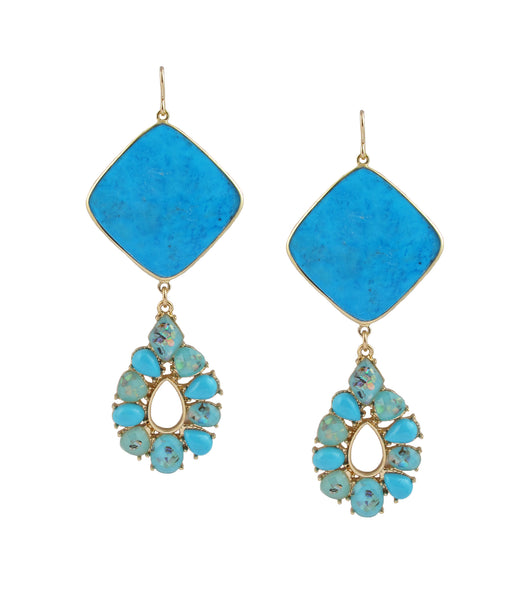 Turquoise Bezel Cluster Pendant Earrings
