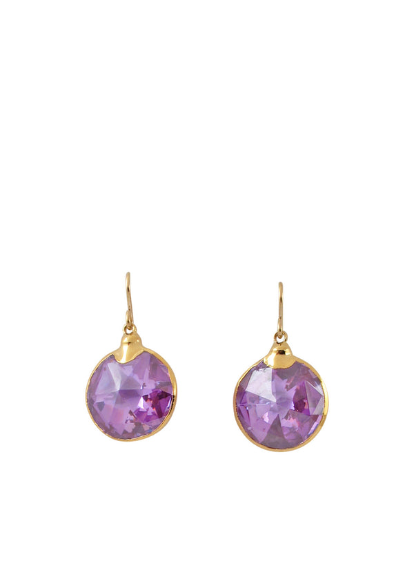 Lavender Lucky Star CZ in Gold Foil Earrings