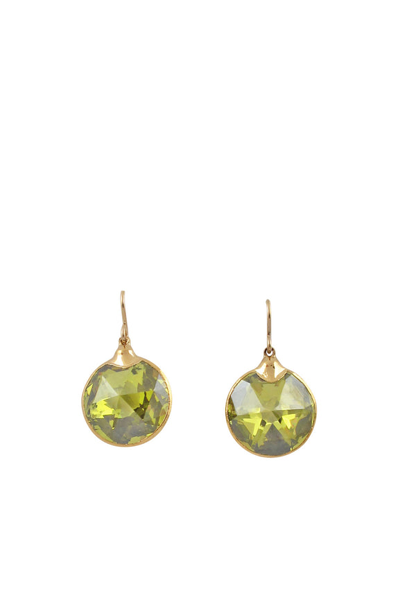 Lemon Lucky Star CZ in Gold Foil Earrings