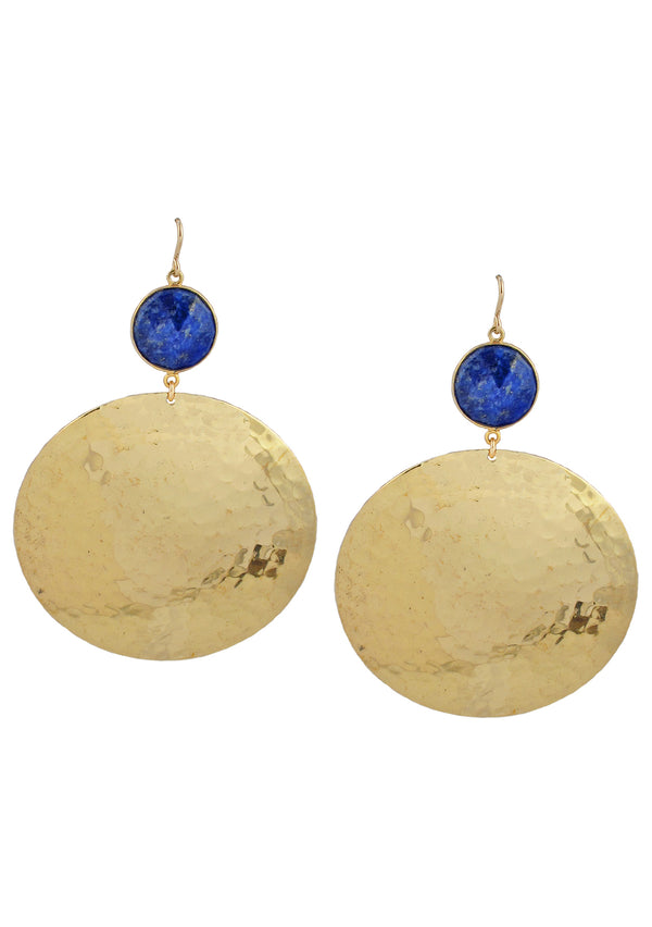 Lapis Bezel Gold Medallion Earrings
